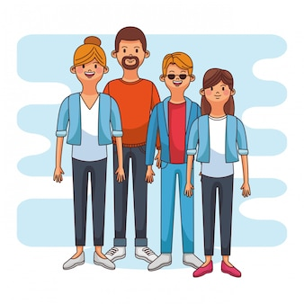 Parents with teen daugther and son vector illustration graphic design