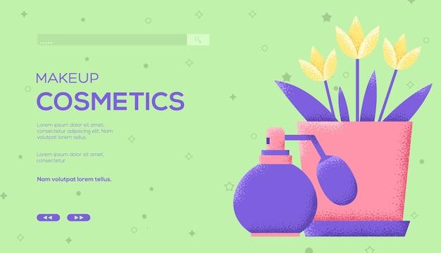 퍼퓸 컨셉 전단지, 웹 배너, Ui 헤더, 사이트 입력. 그레인 텍스처 및 노이즈 효과. 프리미엄 벡터