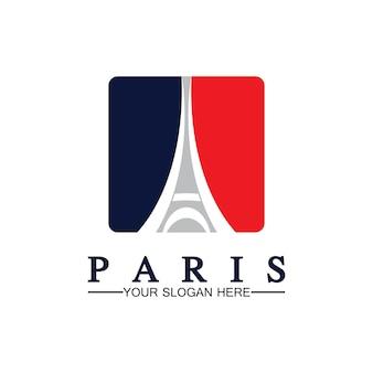 Париж и эйфелева башня логотип вектор значок иллюстратор шаблон дизайна
