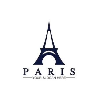 パリとエッフェル塔のロゴベクトルアイコンイラストレーターデザインテンプレート