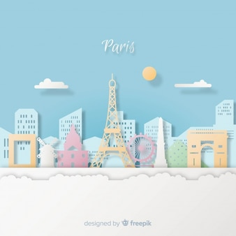 Paris background with paper art style