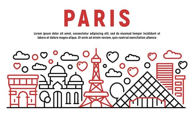 Paris banner, outline style