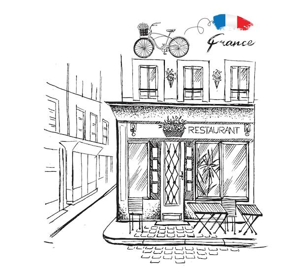 Парижское кафе набор рисованной французских иконок эскиз иллюстрации