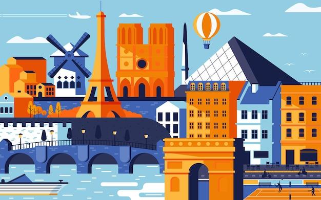 Красочный плоский стиль дизайна города парижа. городской пейзаж со всеми известными зданиями. состав города парижа горизонта для дизайна. фон путешествий и туризма. векторная иллюстрация