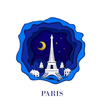 Paris city of france in digital craft paper art