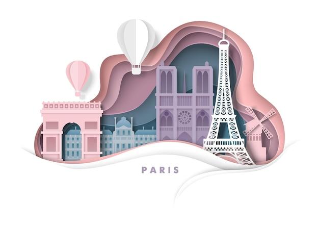 Paris city france vector paper cut illustration eiffel tower notre dame cathedral world famous landm...