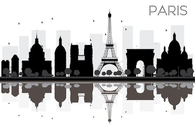 Paris city skyline black and white silhouette with reflections. vector illustration. simple flat concept for tourism presentation, banner, placard or web site. cityscape with famous landmarks