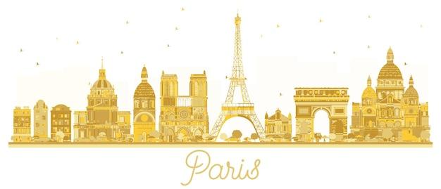 Золотой силуэт горизонта города парижа. векторная иллюстрация. концепция деловых поездок. париж, изолированные на белом фоне.