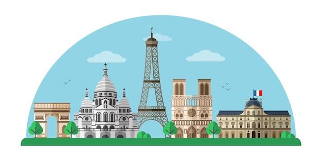 Paris city with eiffel tower notre dame illustration france capital