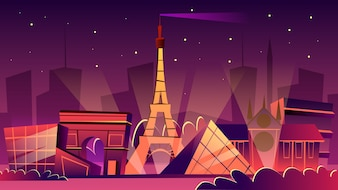 Paris cityscape illustration. Cartoon Paris landmarks in night, Eiffel Tower