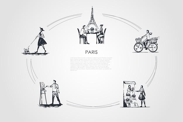 Парижская концепция набора иллюстрации