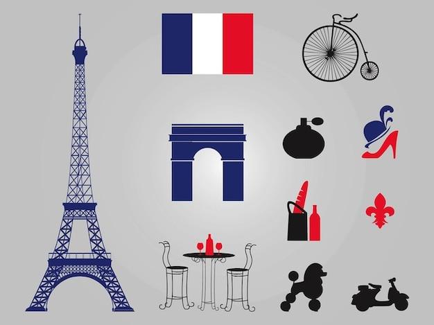 Paris eiffel tower architecture vectors