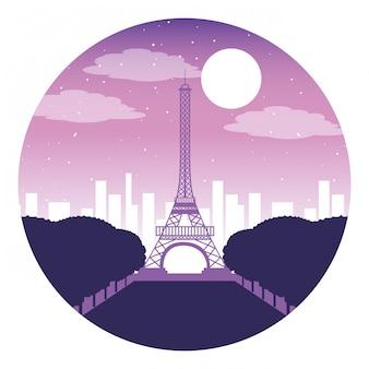 Paris eiffel tower city night moon