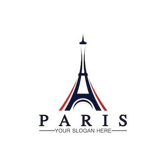 Paris and eiffel tower logo vector icon  illustrator design template
