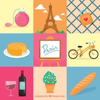 Париж элементы иллюстрации
