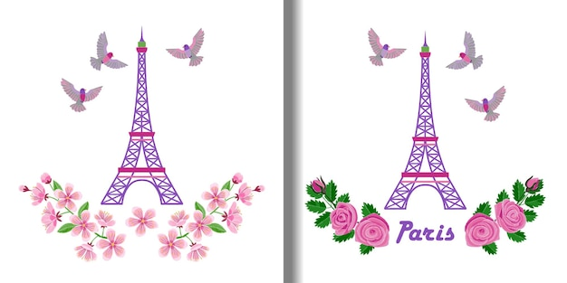 Paris embroidery patterns set with eiffel tower and birds for textile and t shirt prints