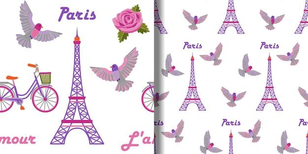パリの刺繡のシームレスなパターンは、エッフェル塔とテキスタイルプリントの鳥で設定されています