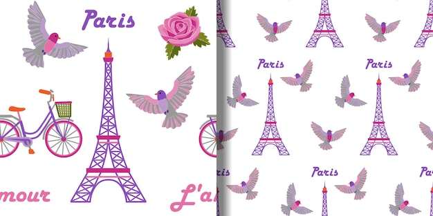 Paris embroidery seamless patterns set with eiffel tower and birds for textile prints