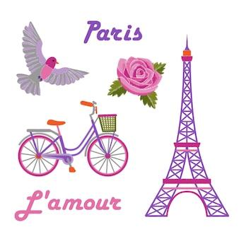 白い背景の上のエッフェル塔で設定されたパリの刺繡