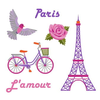 Paris embroidery set with eiffel tower on white background