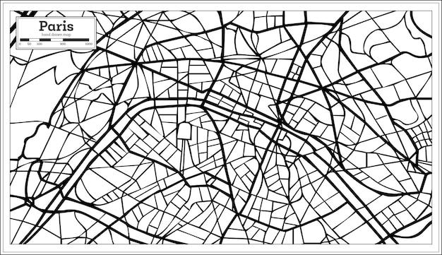 Карта города париж франция в черно-белом цвете. нарисованный от руки. векторные иллюстрации.