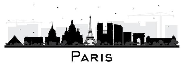 Силуэт горизонта города париж франция с черными зданиями, изолированные на белом. векторные иллюстрации. деловые поездки и концепция с исторической архитектурой. городской пейзаж парижа с достопримечательностями.