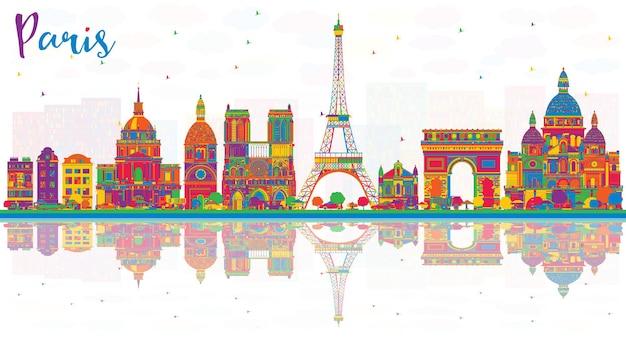 色の建物と反射のあるパリフランスの街のスカイライン。ベクトルイラスト。歴史的な建築とビジネス旅行と観光の概念。ランドマークのあるパリの街並み。