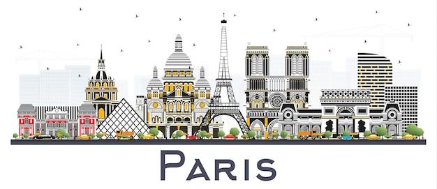 흰색 절연 색상 건물 파리 프랑스 도시의 스카이 라인. 벡터 일러스트 레이 션. 역사적인 건축과 비즈니스 여행 및 개념. 랜드마크가 있는 파리의 풍경.