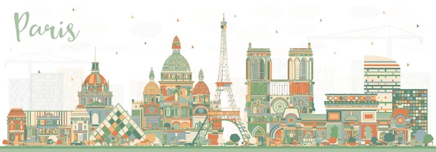 Paris france city skyline with color buildings. vector illustration. business travel and concept with historic architecture. paris cityscape with landmarks.