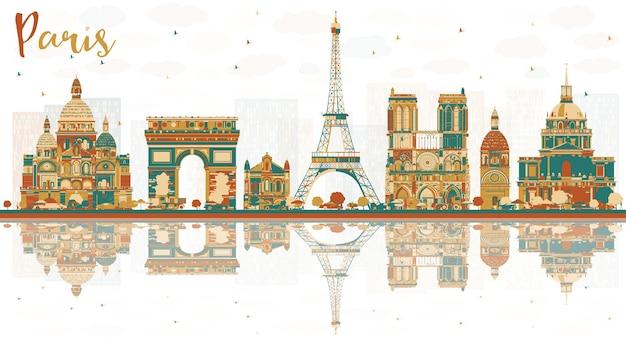 Горизонты города париж франция с цветными достопримечательностями. векторные иллюстрации. деловые поездки и концепция туризма с историческими зданиями. городской пейзаж парижа с достопримечательностями.
