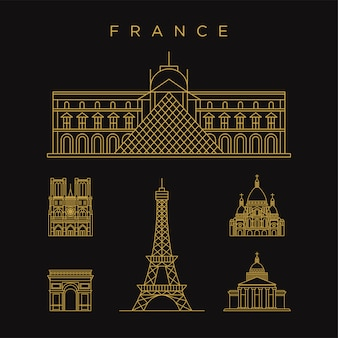 Paris france landmark golden icon with line style template
