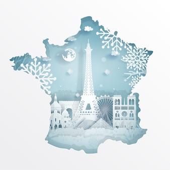 Paris, France map winter season