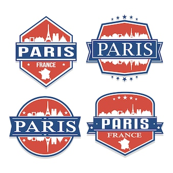 パリフランス旅行とビジネスのスタンプデザインのセット