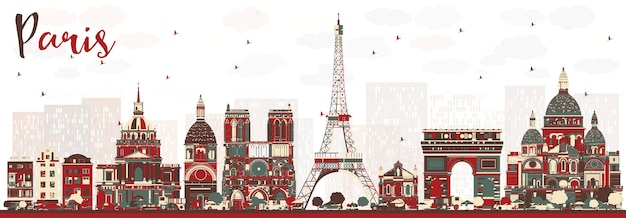Paris france skyline with color landmarks. vector illustration. business travel and tourism concept with historic buildings. paris cityscape.