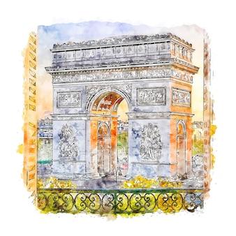 Paris france watercolor sketch hand drawn illustration