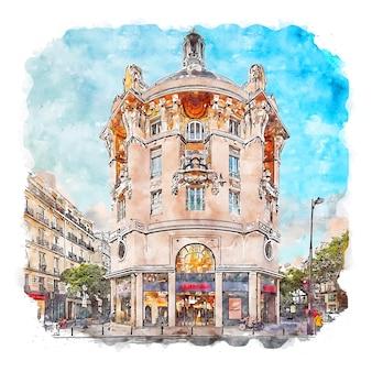 파리 프랑스 수채화 스케치 손으로 그린 그림