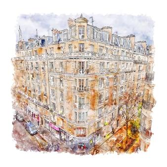 パリフランス水彩スケッチ手描きイラスト