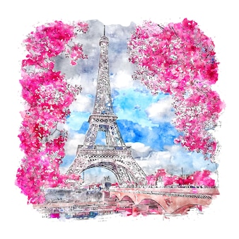 Paris france watercolor sketch hand drawn illustration