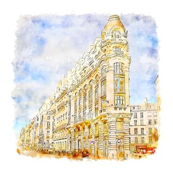 パリフランス水彩スケッチ手描き