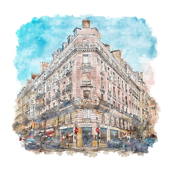 パリフランス水彩スケッチ