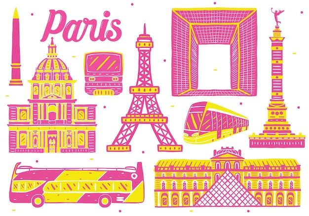 Paris landmark in flat design style
