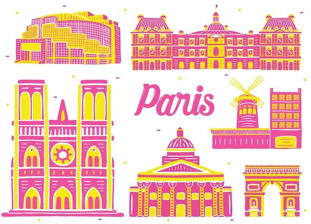 フラットなデザインスタイルのパリのランドマーク