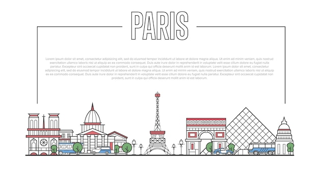 直線的なスタイルのパリのランドマークパノラマ