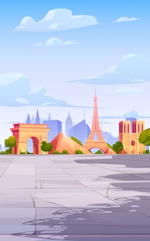 Paris landmarks, france city skyline background