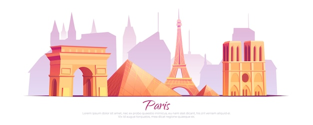 Paris landmarks, france city skyline