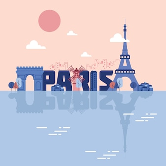 Paris landmarks illustration