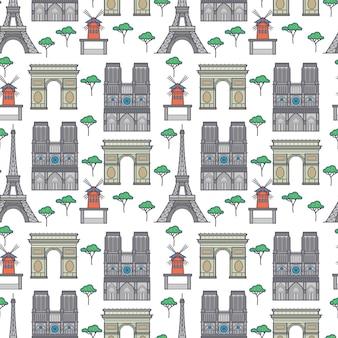 Paris landmarks seamless pattern
