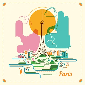 Paris landscape illustration