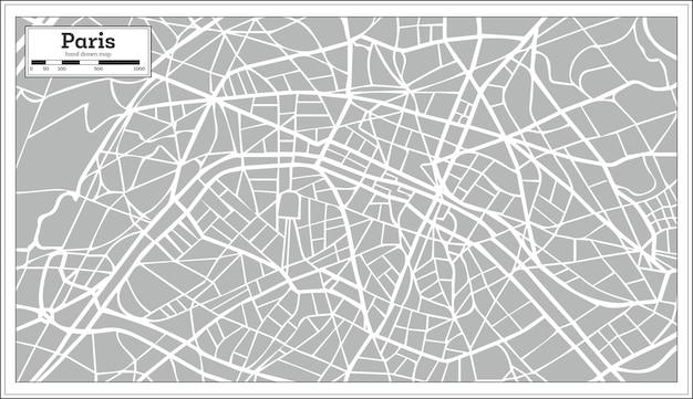 레트로 스타일의 파리 지도입니다. 손으로 그린. 벡터 일러스트 레이 션.
