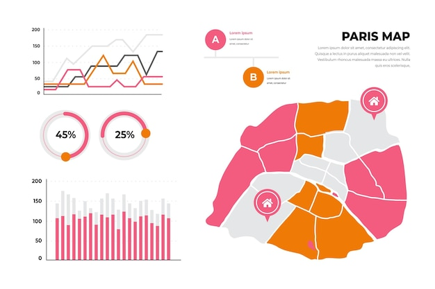 Инфографика карта парижа плоский дизайн